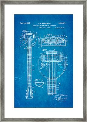 Beauchamp First Electric Guitar Patent Art 1937 Blueprint Framed Print by Ian Monk
