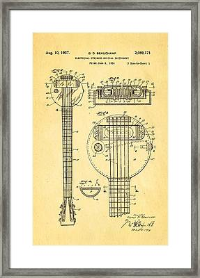 Beauchamp First Electric Guitar Patent Art 1937 Framed Print by Ian Monk