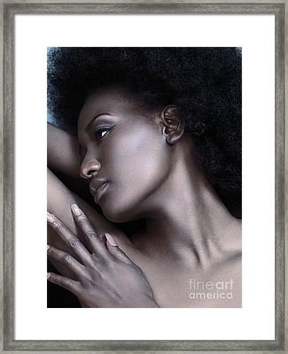 Beautiful Black Woman Face With Shiny Silver Skin Framed Print by Oleksiy Maksymenko