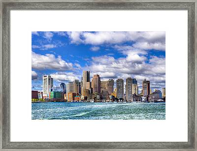 Beautiful Boston Skyline From The Harbor Framed Print by Mark E Tisdale
