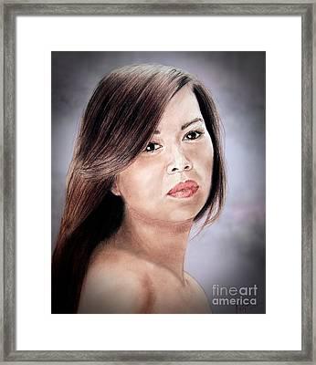 Beautiful Filipina Woman Fade To Black Version Framed Print by Jim Fitzpatrick