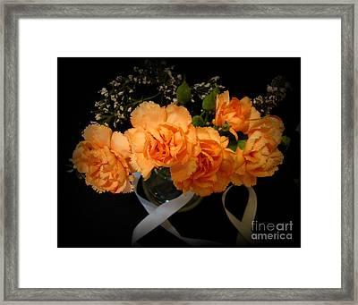 Beautiful Florals On Black Framed Print by Carol Grenier