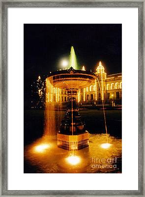 Beautiful Fountain At Night Framed Print by John Malone