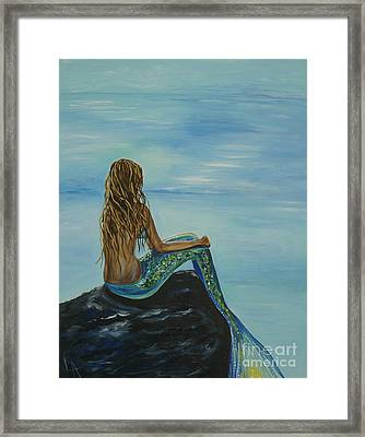 Beautiful Magic Mermaid Framed Print by Leslie Allen