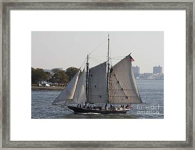 Beautiful Sailboat In Manhattan Harbor Framed Print by John Telfer