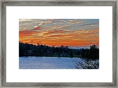 Beautiful Sunset At Lake Clear Lake Washington Framed Print by Valerie Garner