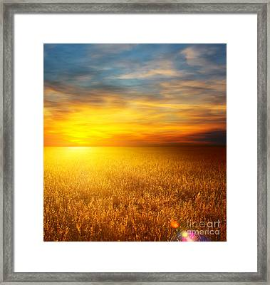 Beautiful Sunset Paintings Framed Print by Boon Mee
