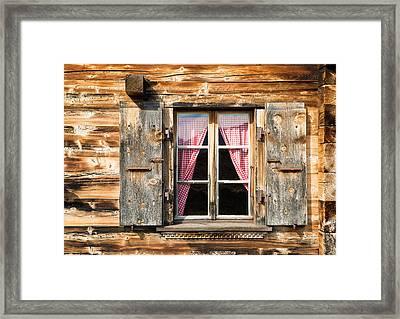 Beautiful Window Wooden Facade Of A Chalet In Switzerland Framed Print by Matthias Hauser