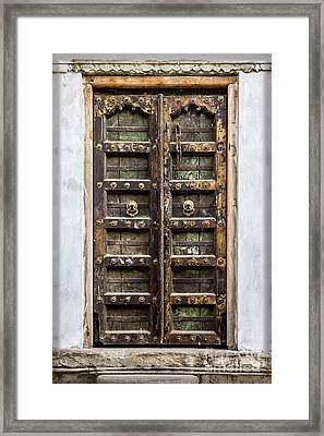 Beautiful Woodwork From Rajasthan Framed Print by Catherine Arnas