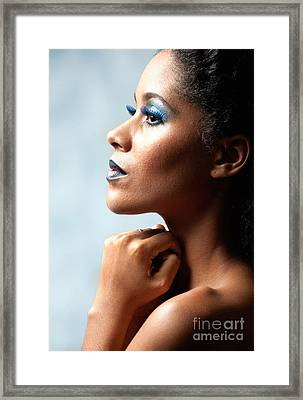 Beautiful Young Black Woman Looking Away Framed Print by Joe Fox