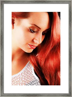 Beauty In Red Hair Framed Print by T Monticello