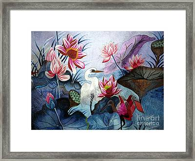 Beauty Of The Lake Hand Embroidery Framed Print by To-Tam Gerwe
