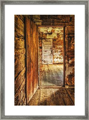 Beaver Jim's Cabin Framed Print by Priscilla Burgers