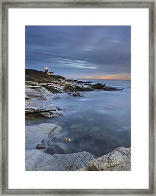 Beavertail Lighthouse Seascape Framed Print by Katherine Gendreau