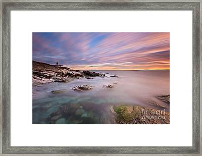 Beavertail Lighthouse Sunset Framed Print by Katherine Gendreau