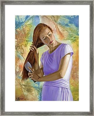 Becca Brushing Her Hair Framed Print by Paul Krapf