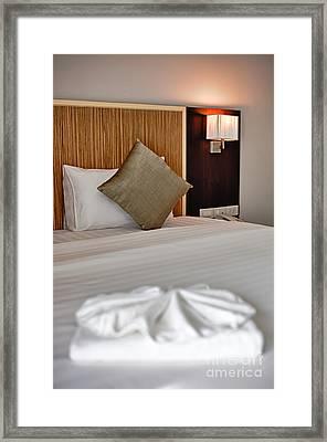 Bed In Hotel Room Framed Print by Fototrav Print