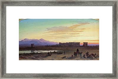 Bedouin Encampment Before The Temple Of Hathor At Dendera Framed Print by Charles Vacher