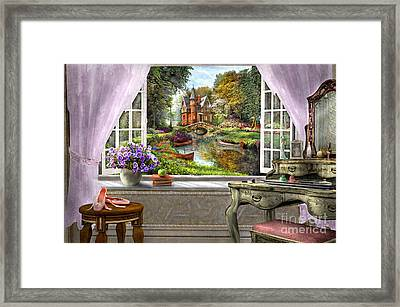 Bedroom View Framed Print by Dominic Davison