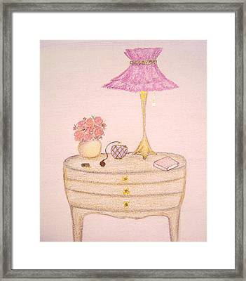 Bedside Table Framed Print by Christine Corretti
