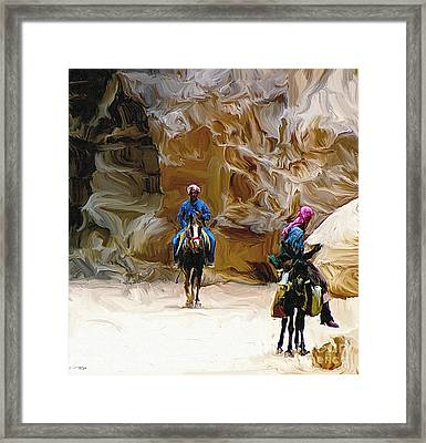 Beduins On The Silk Trail Framed Print by Ted Guhl