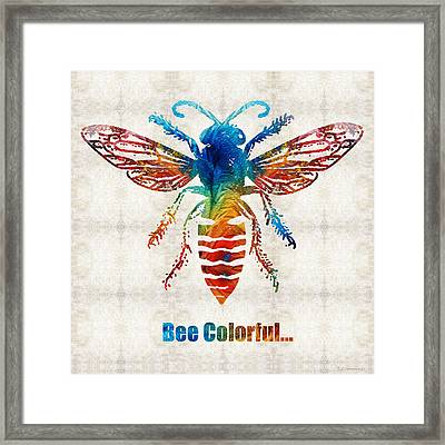 Bee Colorful - Art By Sharon Cummings Framed Print by Sharon Cummings