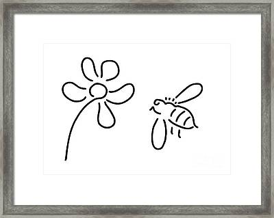 Bee Honey Flower Blossom Framed Print by Lineamentum