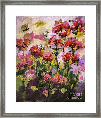 Beebalm And Bees Framed Print by Ginette Callaway