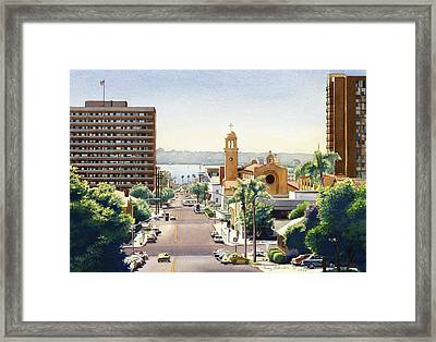 Beech Street In San Diego Framed Print by Mary Helmreich
