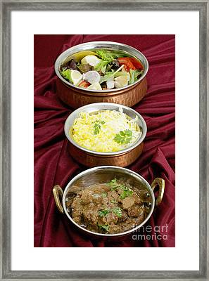 Beef Rogan Josh With Rice And Salad Framed Print by Paul Cowan