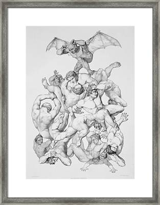 Beelzebub Expels The Fallen Angels Framed Print by Richard Edmond Flatters