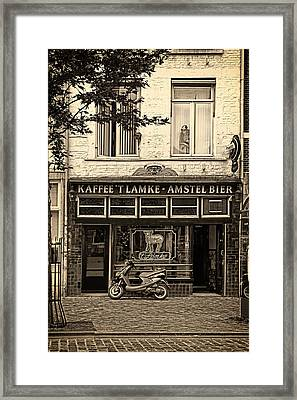 Beer And The Peeking Lady Framed Print by Mountain Dreams