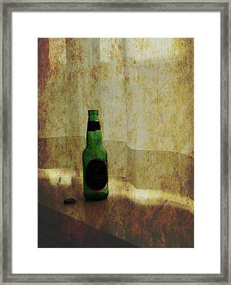 Beer Bottle On Windowsill Framed Print by Randall Nyhof