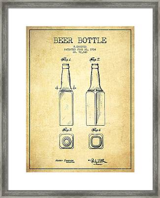 Beer Bottle Patent Drawing From 1934 - Vintage Framed Print by Aged Pixel