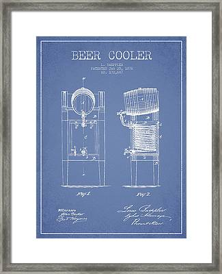 Beer Cooler Patent Drawing From 1876 - Light Blue Framed Print by Aged Pixel