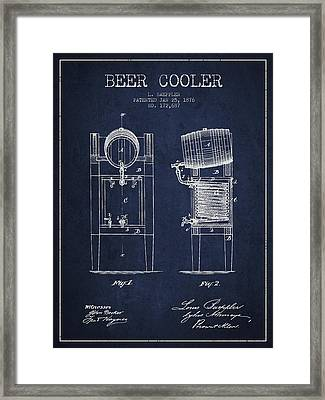 Beer Cooler Patent Drawing From 1876 - Navy Blue Framed Print by Aged Pixel