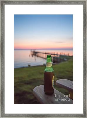 Beer In The Sunset In Obx Framed Print by Kay Pickens