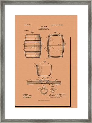 Beer Keg Patent - 1898 Framed Print by Mountain Dreams
