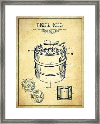 Beer Keg Patent Drawing - Vintage Framed Print by Aged Pixel
