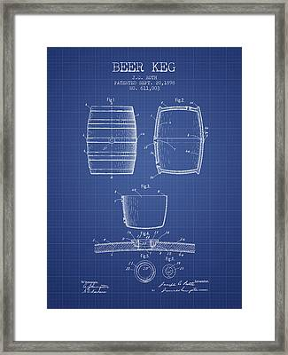 Beer Keg Patent From 1898 Blueprint Framed Print by Aged Pixel