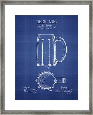 Beer Mug Patent 1876 - Blueprint Framed Print by Aged Pixel