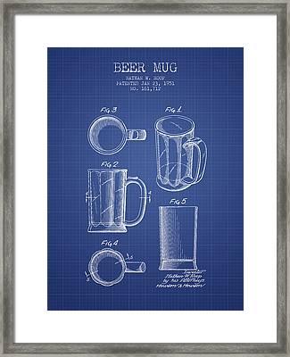 Beer Mug Patent 1951 - Blueprint Framed Print by Aged Pixel