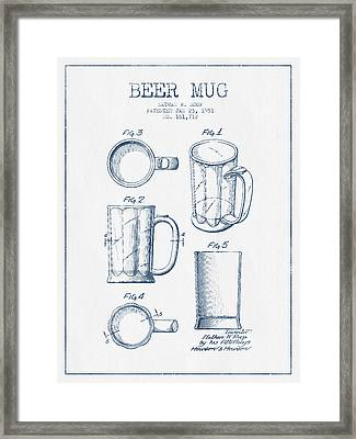 Beer Mug Patent Drawing From 1951 -  Blue Ink Framed Print by Aged Pixel