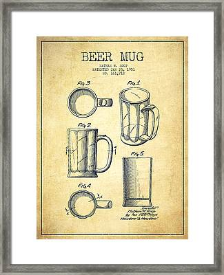Beer Mug Patent Drawing From 1951 - Vintage Framed Print by Aged Pixel