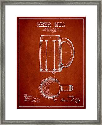 Beer Mug Patent From 1876 - Red Framed Print by Aged Pixel