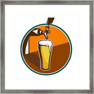 Beer Pint Glass Tap Retro Framed Print by Aloysius Patrimonio