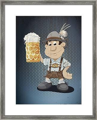 Beer Stein Lederhosen Oktoberfest Cartoon Man Grunge Color Framed Print by Frank Ramspott