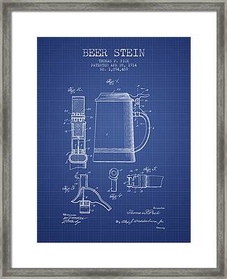 Beer Stein Patent 1914 - Blueprint Framed Print by Aged Pixel