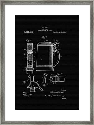 Beer Stein Patent - 1914 Framed Print by Mountain Dreams