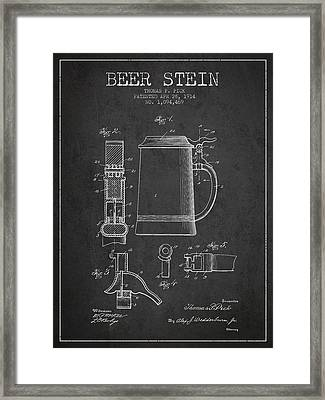 Beer Stein Patent From 1914 - Dark Framed Print by Aged Pixel